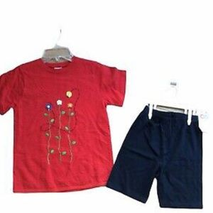Buster Brown Red Embroidered Lady Bug Top Short 10